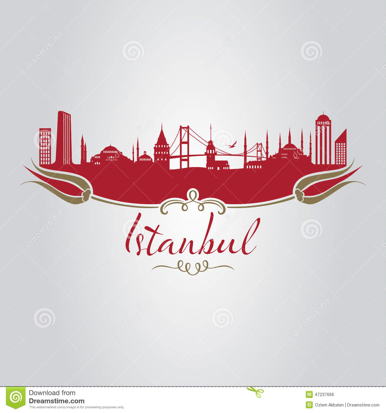Traditional istanbul silhouette with istanbul type and tulip.