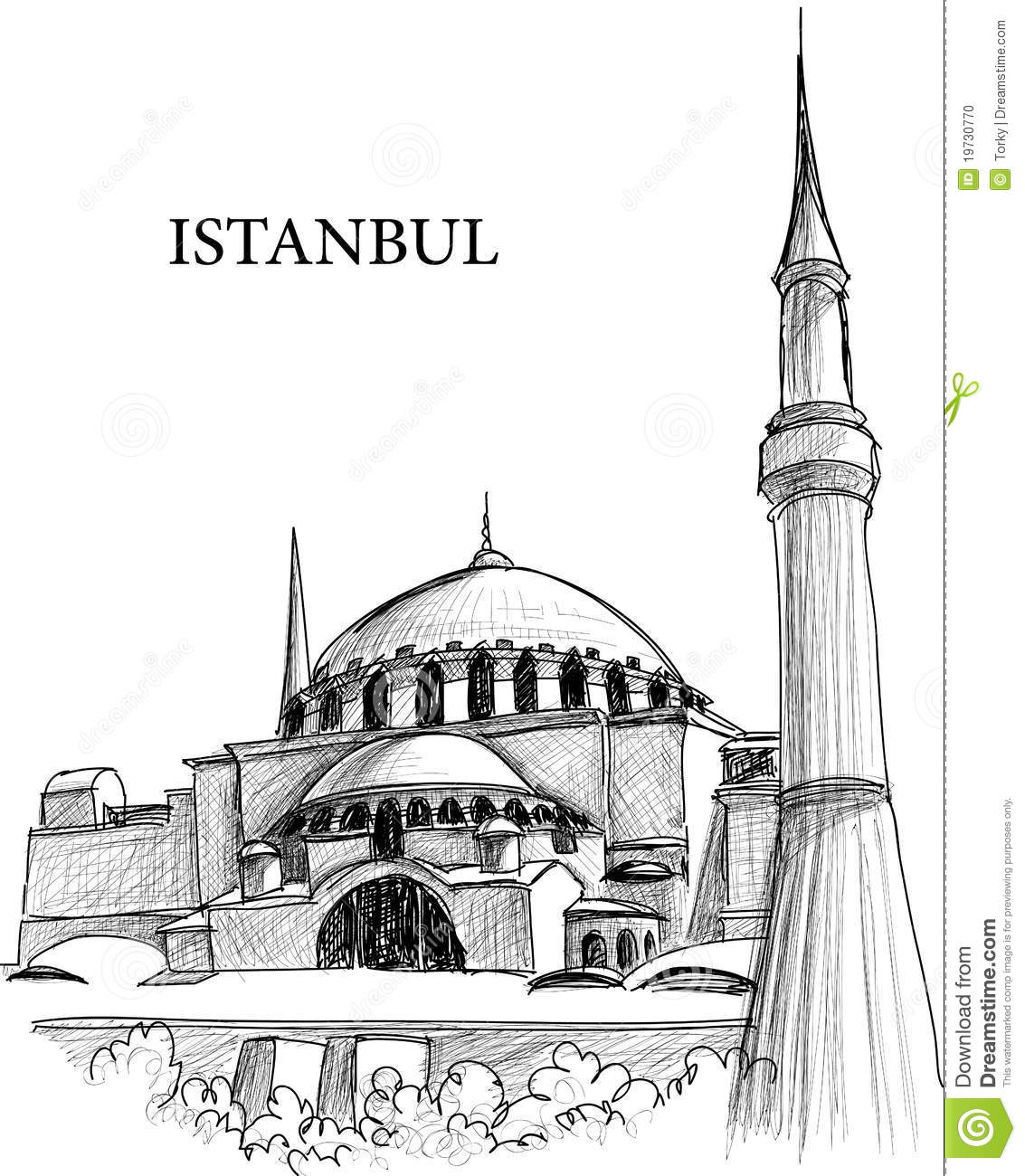 Istanbul St Sophia Cathedral Sketch Stock Photo Image