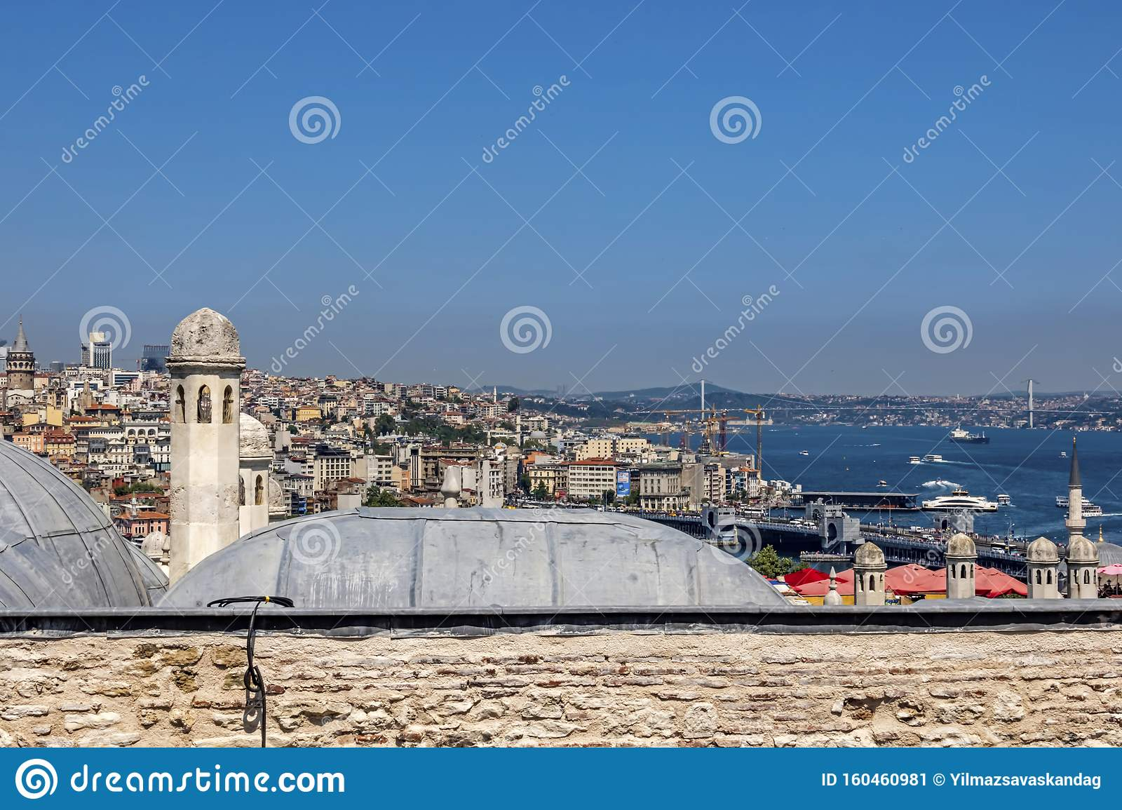 Cityscape And Istanbul View From Suleymaniye Mosque`s Garden In