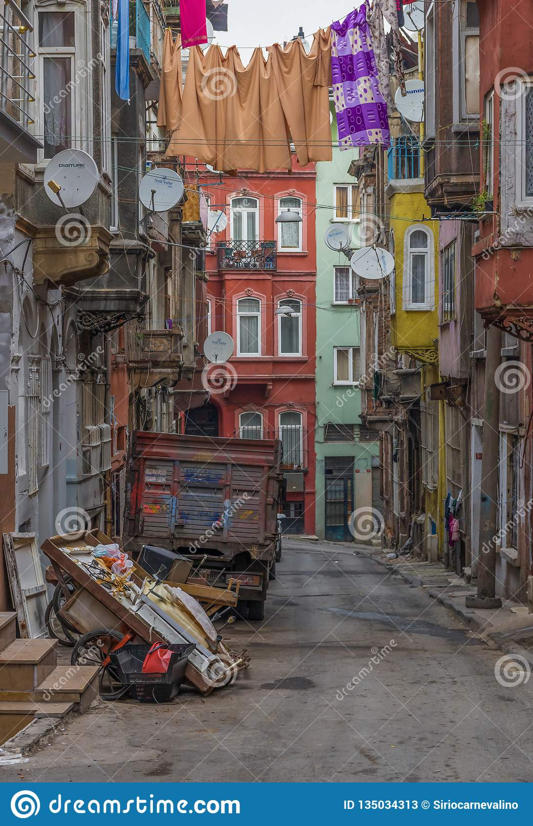 The colorful Tarlabasi district. Istanbul