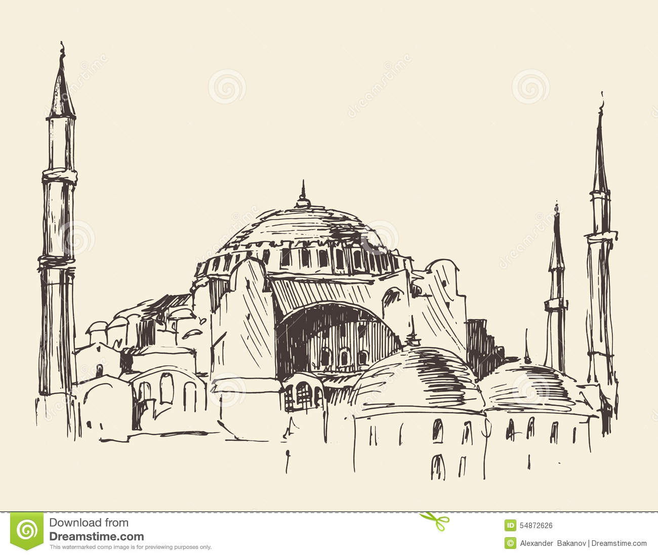 Istanbul, Turkey, Hagia Sophia, Engraved Sketch Stock ...