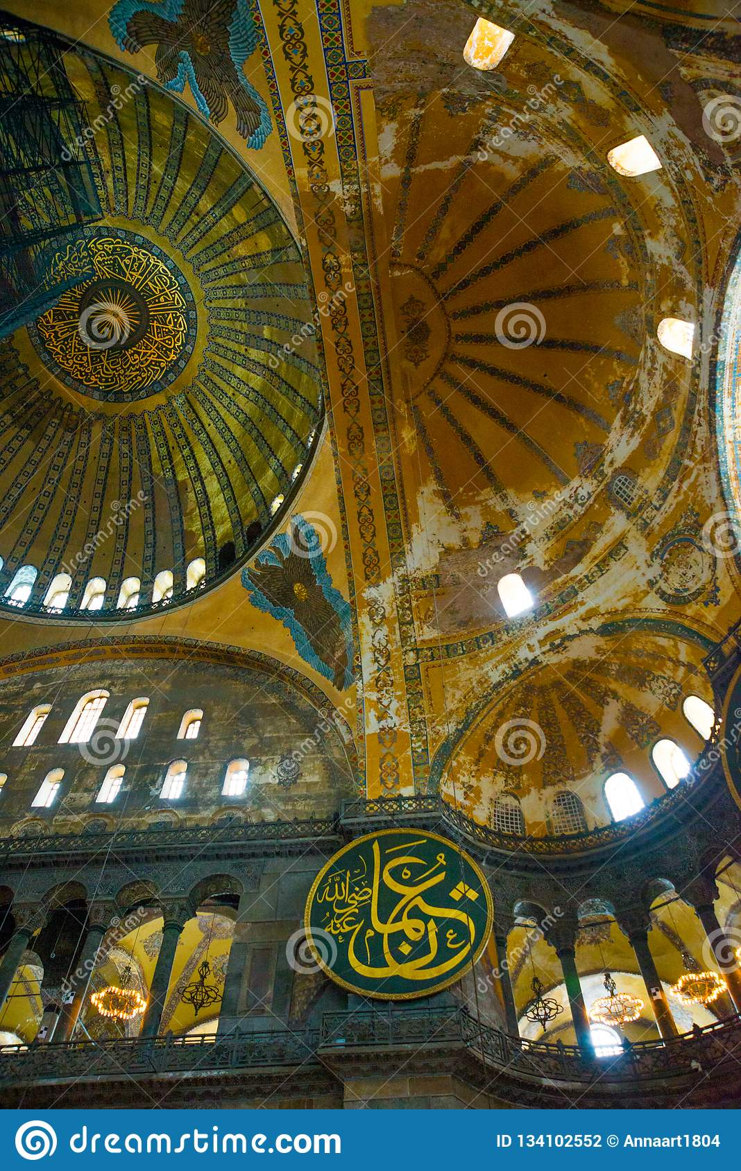 ISTANBUL, TURKEY: Hagia Sophia interior. Hagia Sophia is the greatest monument of Byzantine Culture