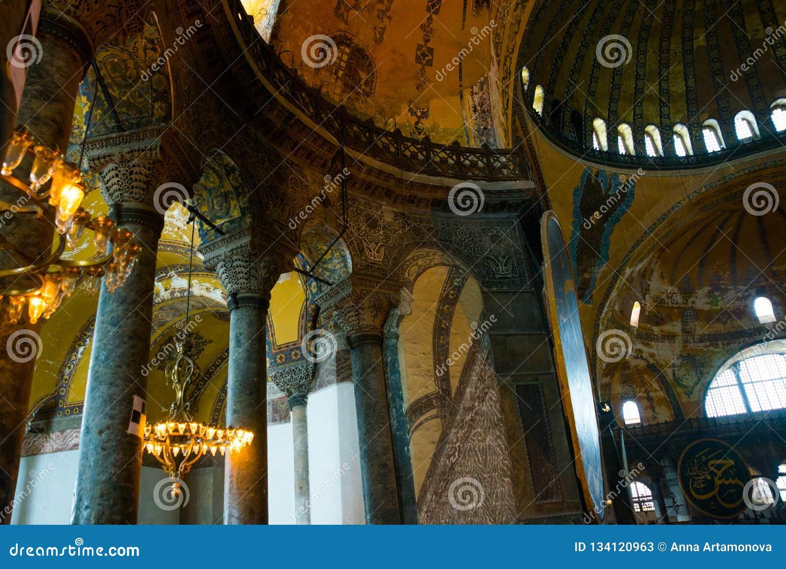 ISTANBUL, TURKEY: Hagia Sophia interior. Hagia Sophia is the greatest monument of Byzantine Culture