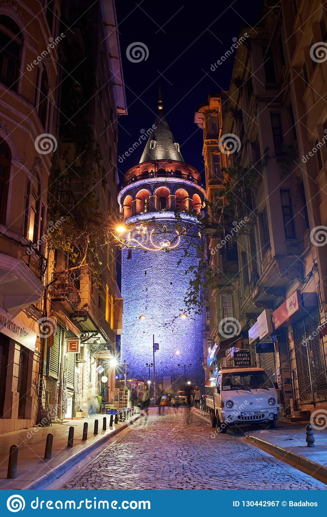 View of the Galata Tower at night