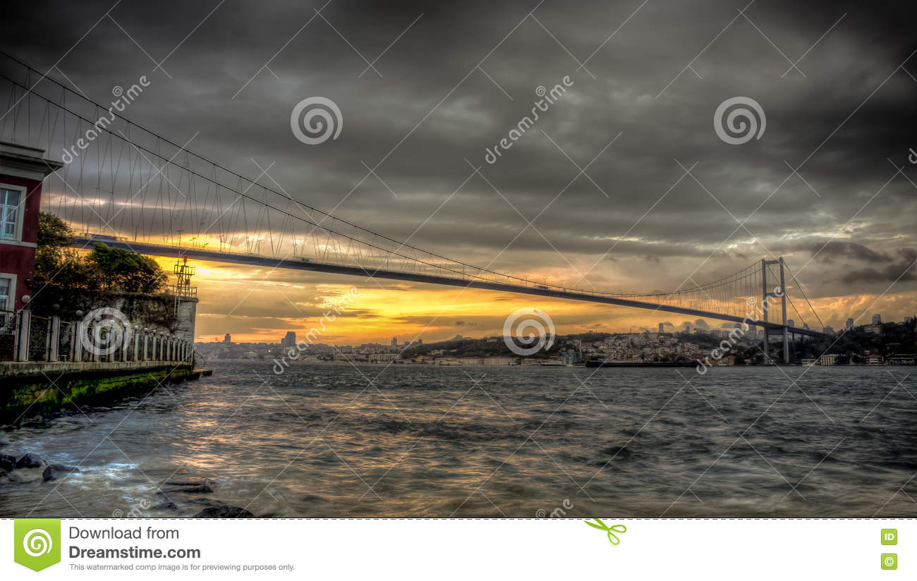 Istanbul, Turkey - 22 October, 2012: Bosphorus bridge connecting Asia and Europe on a cloudy evening, Istanbul, Turkey