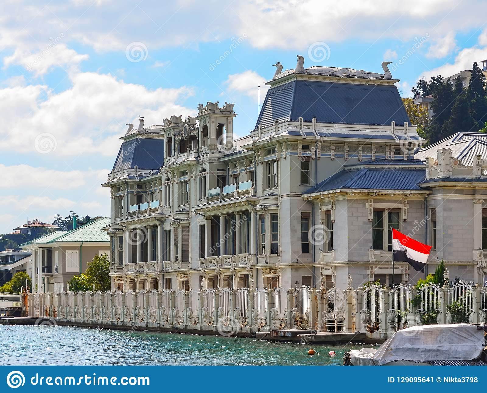 Istanbul, Turkey - September 21, 2018. The consulate of Egypt in Istanbul. Art Nouveau villa on the shores of the Bosphorus with t