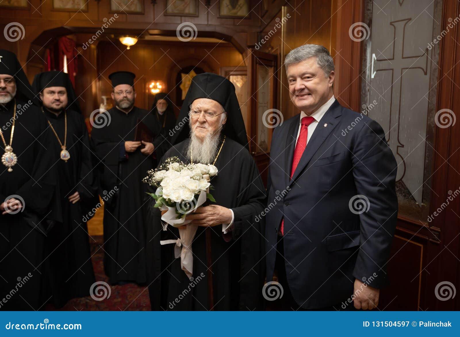Istanbul Turkiet - November 03, 2018: Ekumenisk Patriarchate och hans All-helighet ekumeniska patriark Bartholomew under ett möte