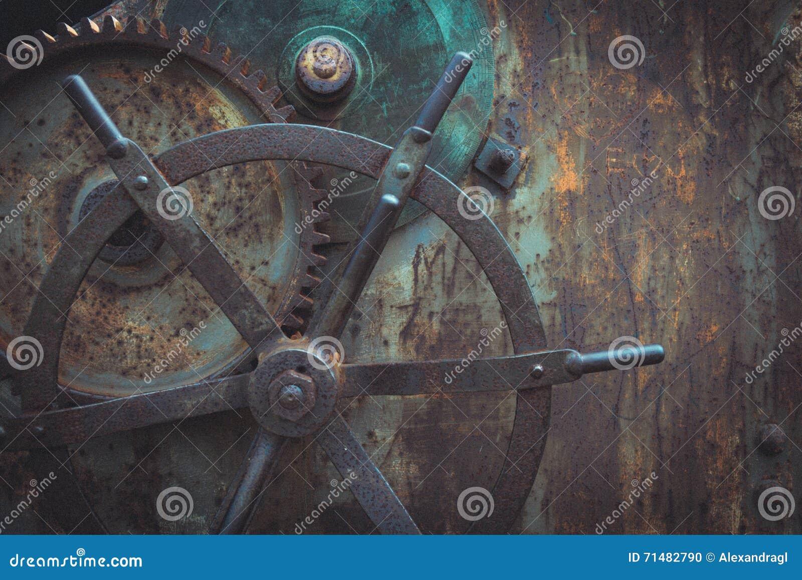 Istantanea del primo piano del meccanismo di ingranaggi antico, fondo di Steampunk
