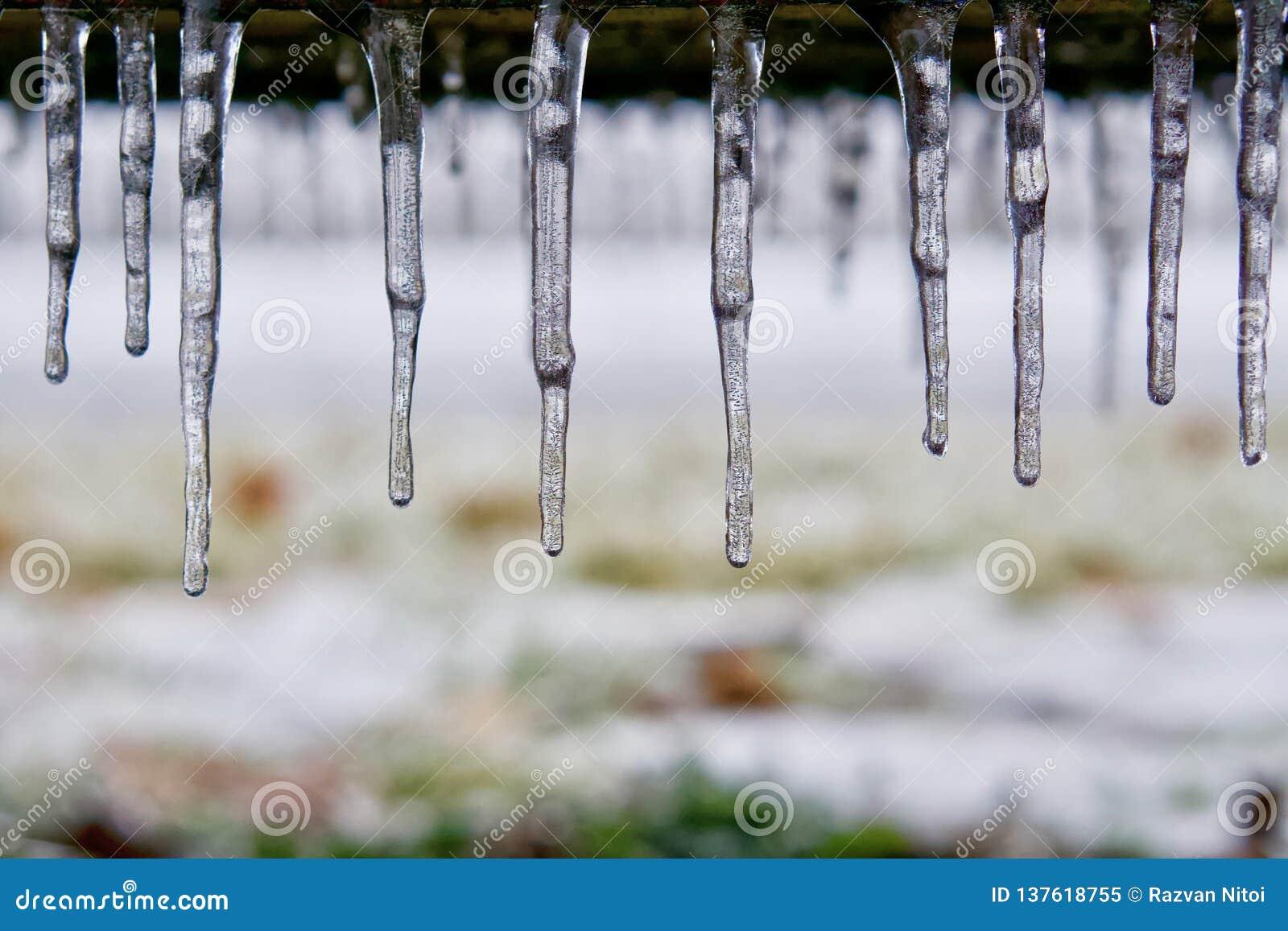 Istappar som bildas efter frysa regn
