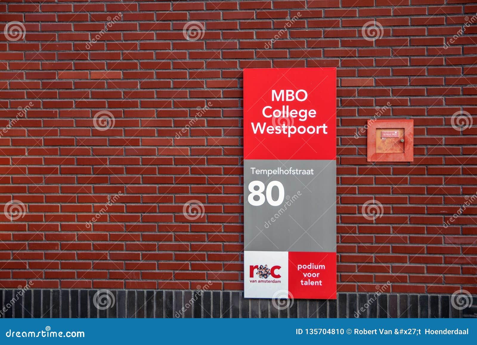 Istituto universitario Westpoort ROC At Amsterdam The Netherlands 2018 del MBO del tabellone per le affissioni