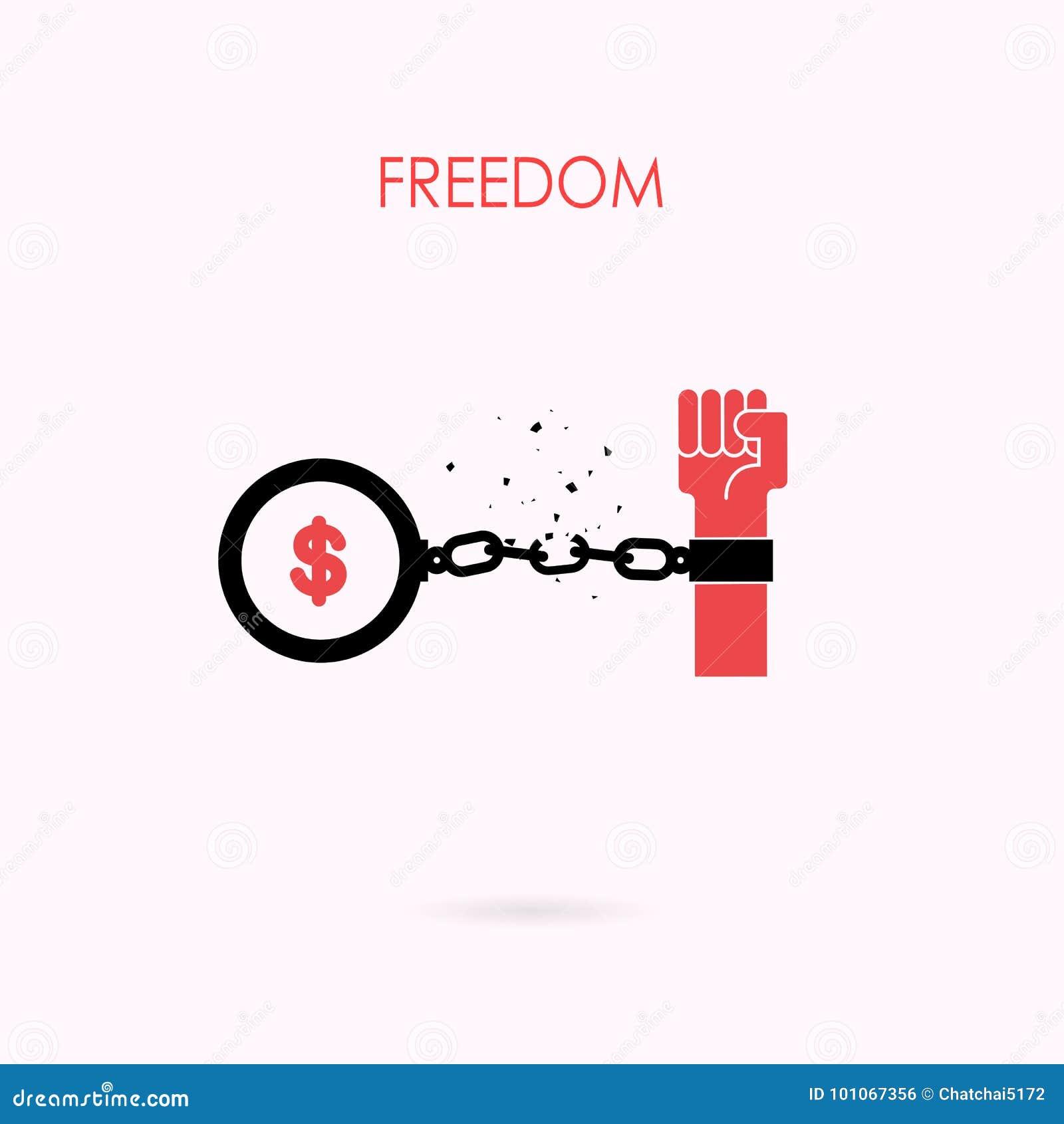 Istot ludzkich ręki i łamający łańcuch z ptasimi symbolami Wolność lub wewnątrz