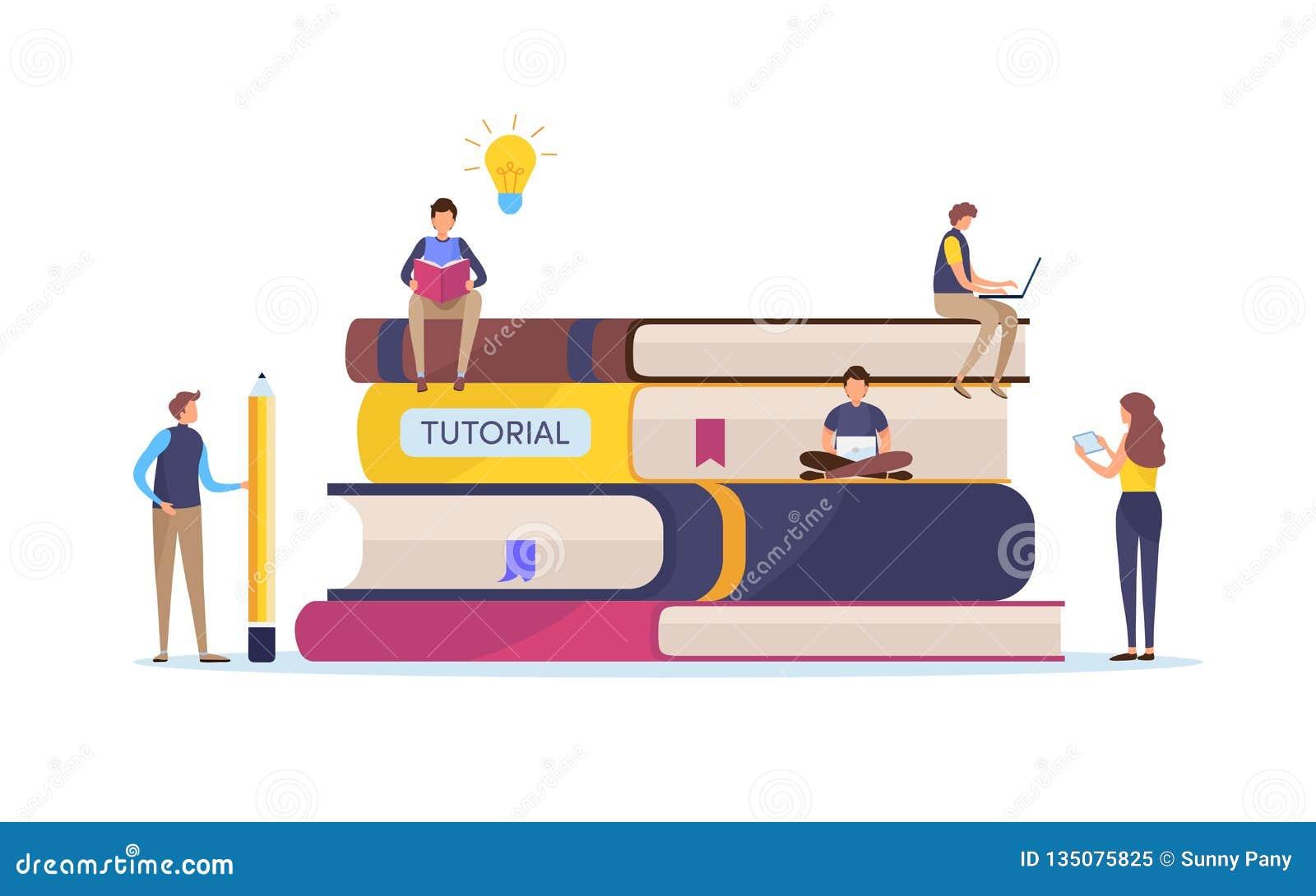 Istruzione, corso di formazione Studio online Esercitazioni, e-learning, conoscenza astuta Grafico di vettore miniatura dell illu