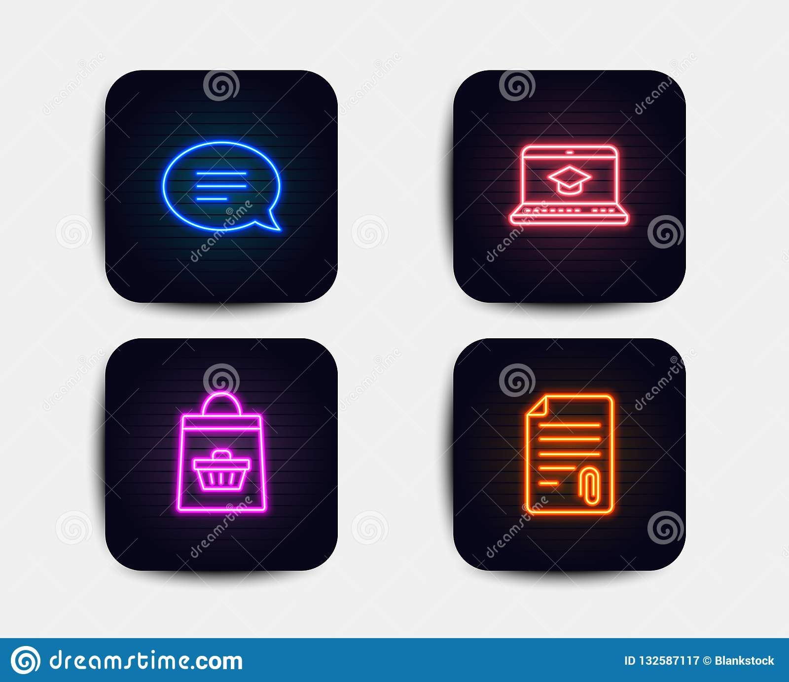 Istruzione del sito Web, di chiacchierata ed icone d acquisto online Segno del collegamento Fumetto, video che impara, carrello V