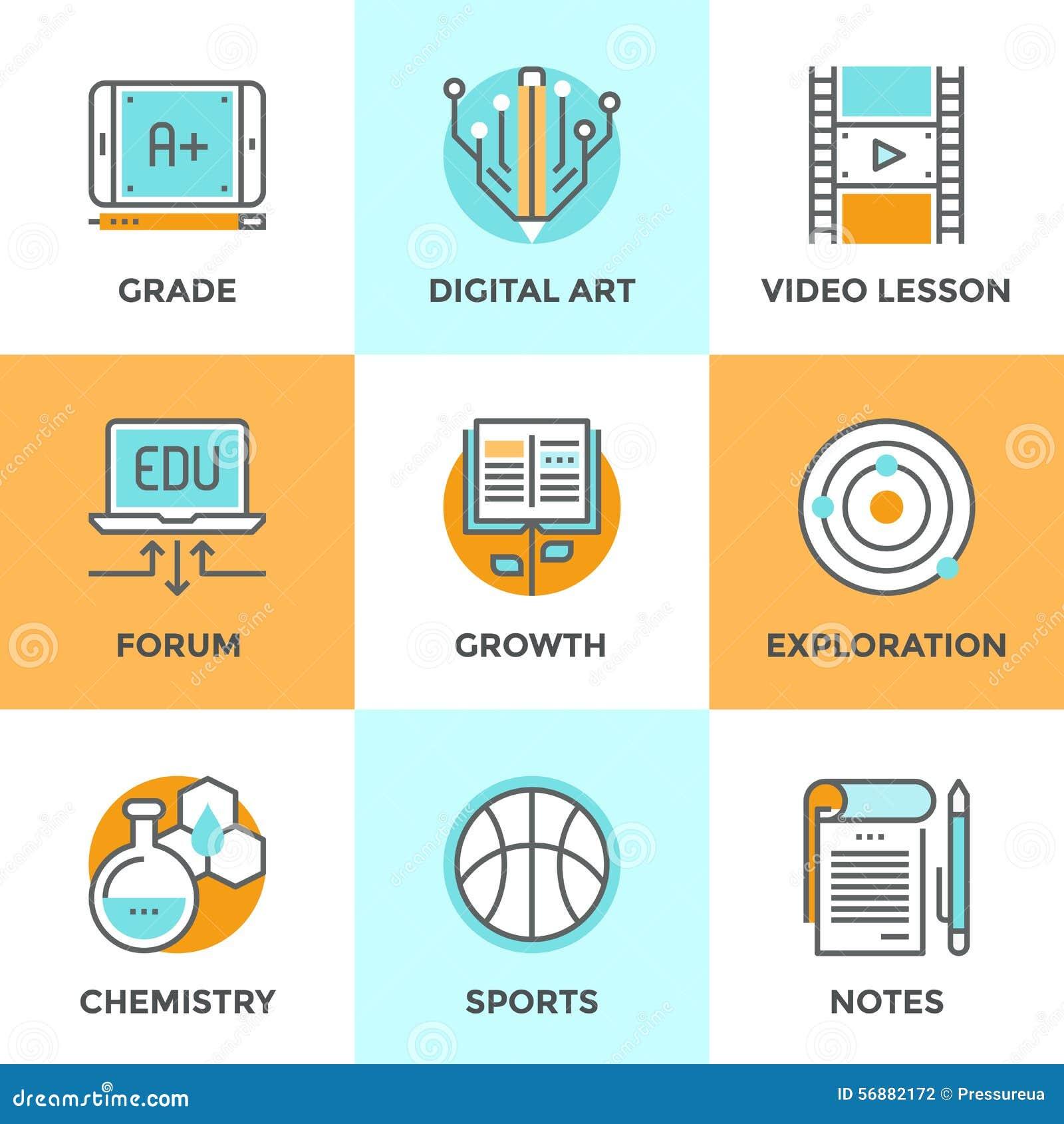 Istruzione e linea icone di apprendimento messe