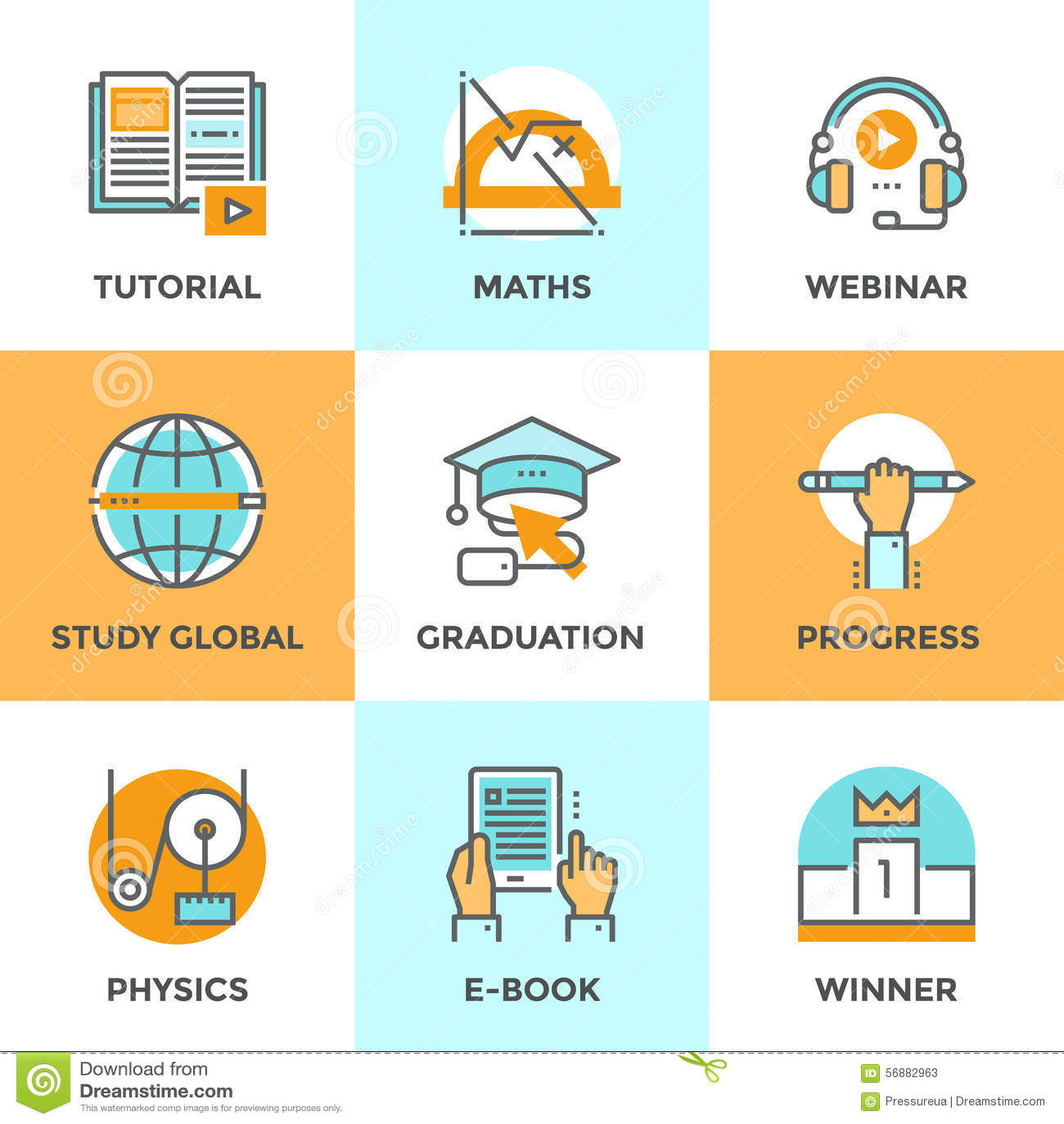 Istruzione e linea icone di studio messe