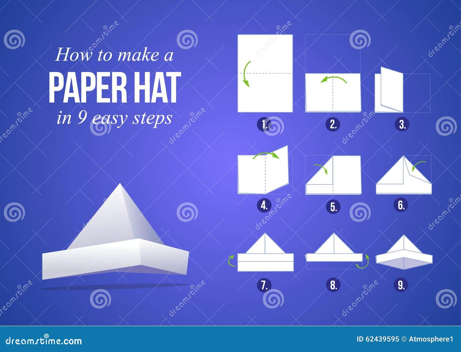 nuovi prodotti caldi stile classico del 2019 catturare Istruzioni Come Fare Un Cappello Di Carta Illustrazione ...