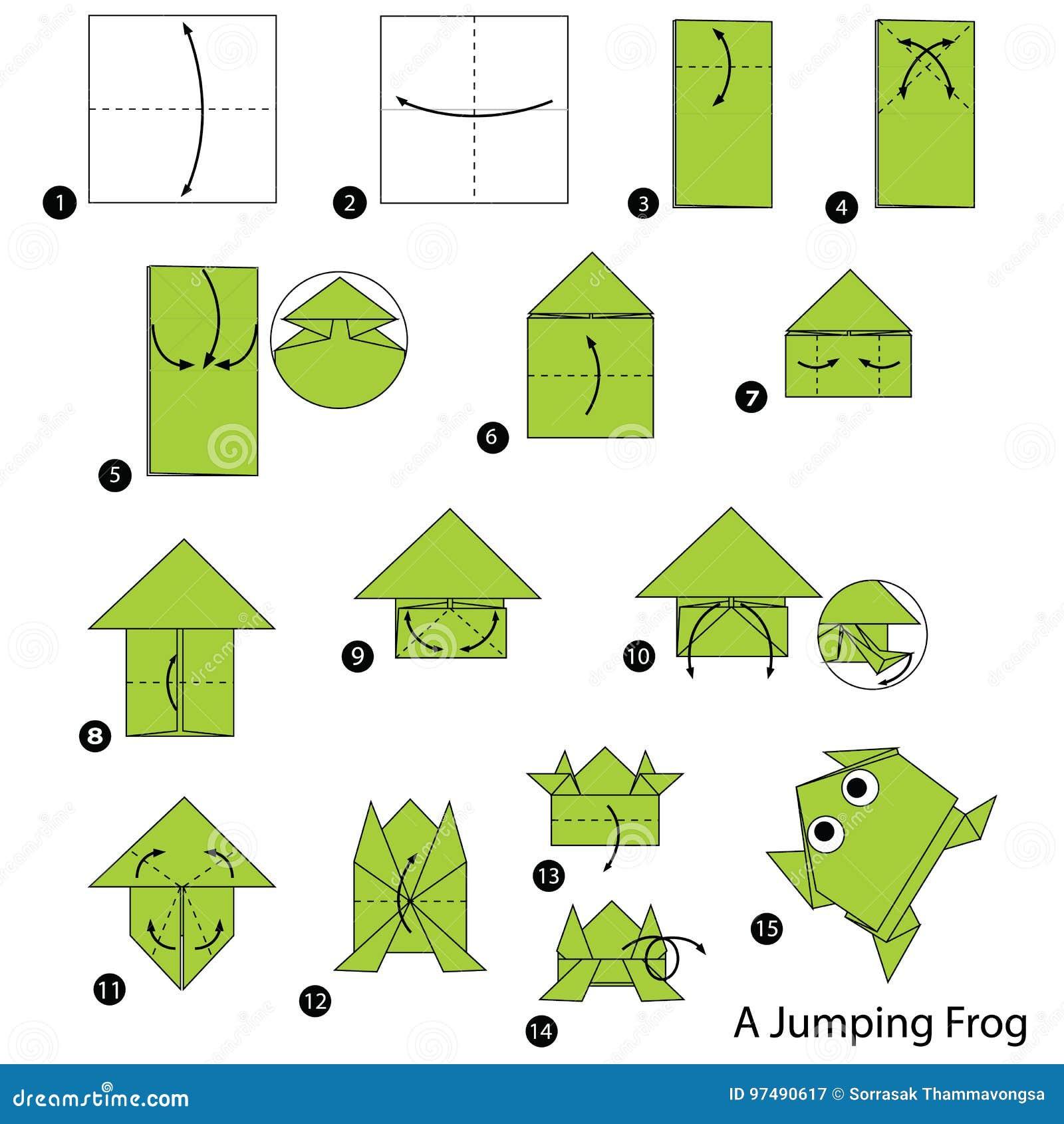 Istruzioni graduali come fare la rana di salto di origami A