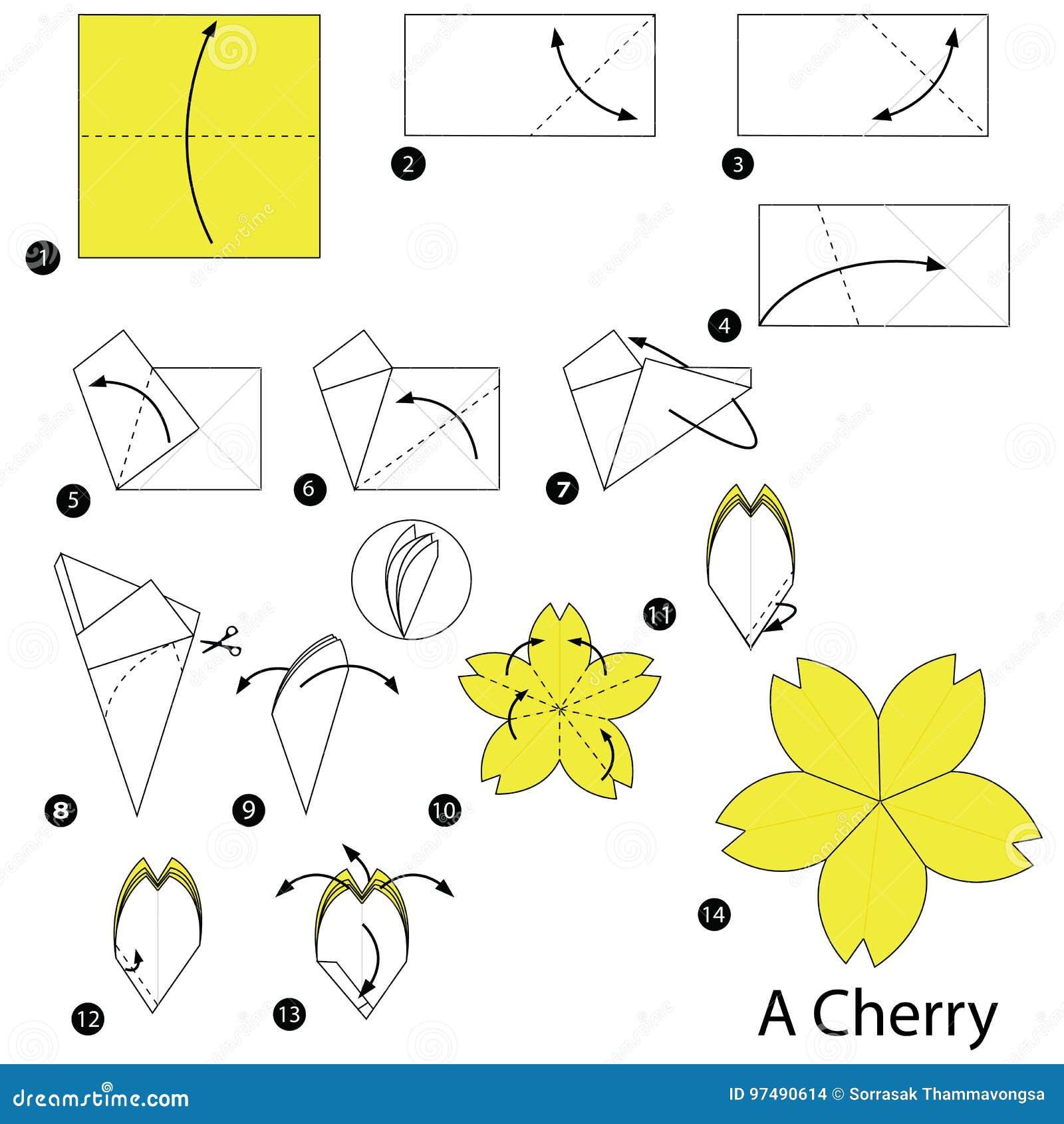 Istruzioni graduali come produrre ad origami una ciliegia