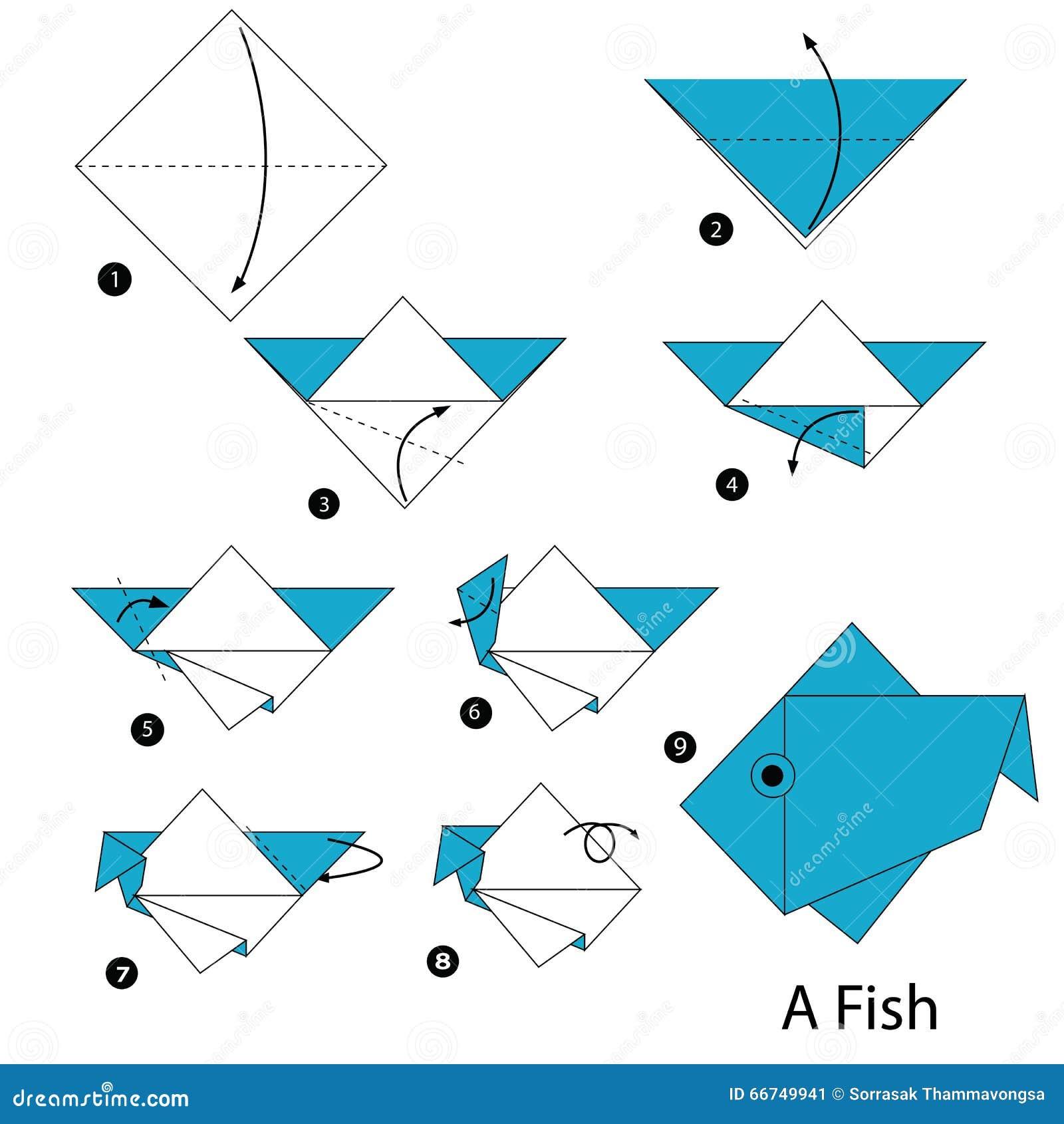 Istruzioni Graduali Come Rendere Ad Origami Un Pesce Illustrazione