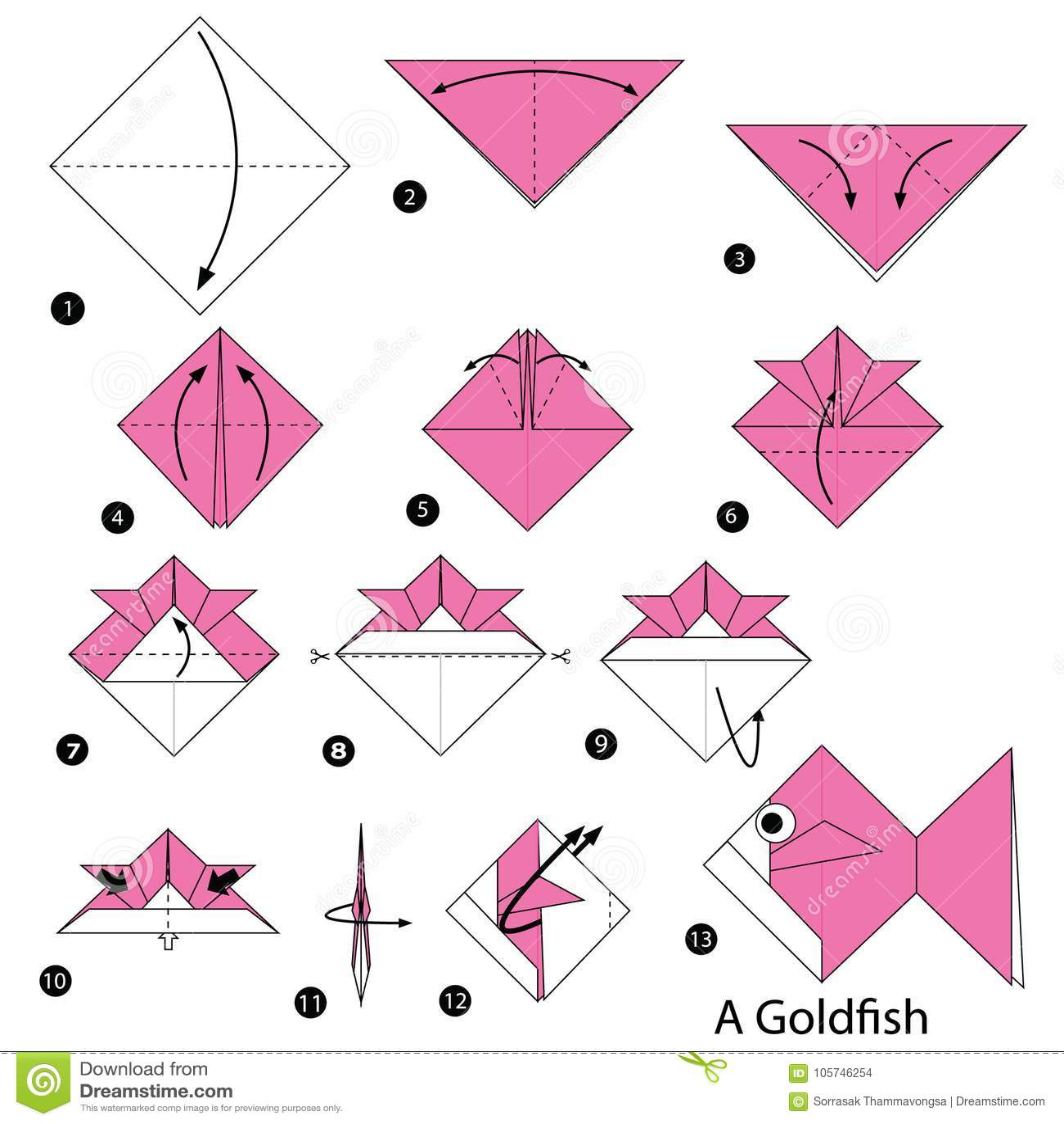 Istruzioni Graduali Come Rendere Ad Origami Un Pesce Rosso