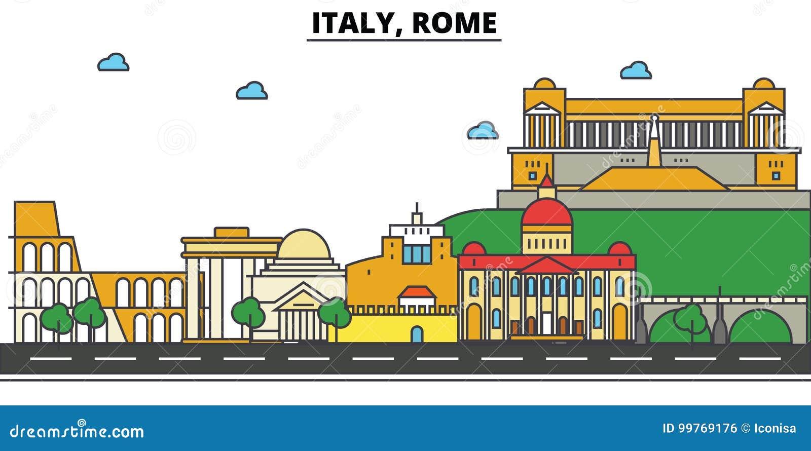 Itália, Roma Arquitetura da skyline da cidade Cursos editáveis