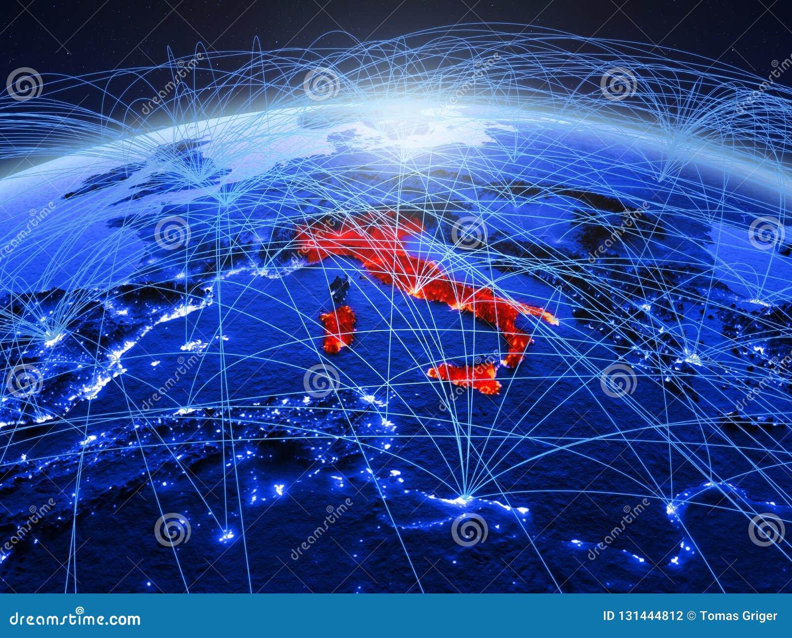 Italië op blauwe digitale aarde met internationaal netwerk die mededeling, reis en verbindingen vertegenwoordigen 3D Illustratie