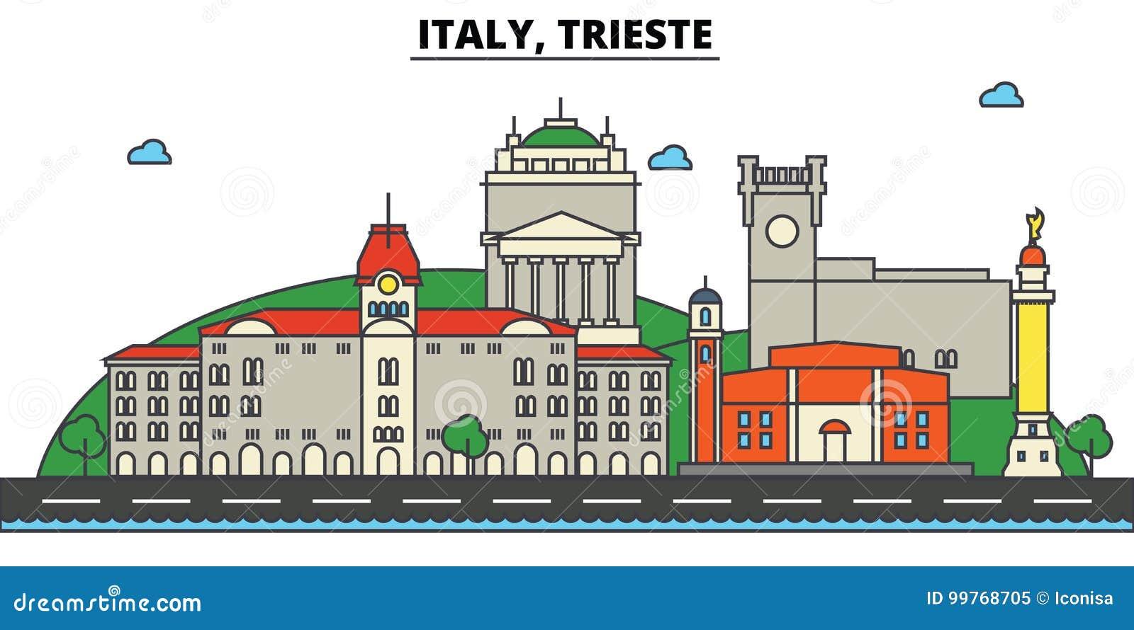 Italië, Triëst De architectuur van de stadshorizon editable