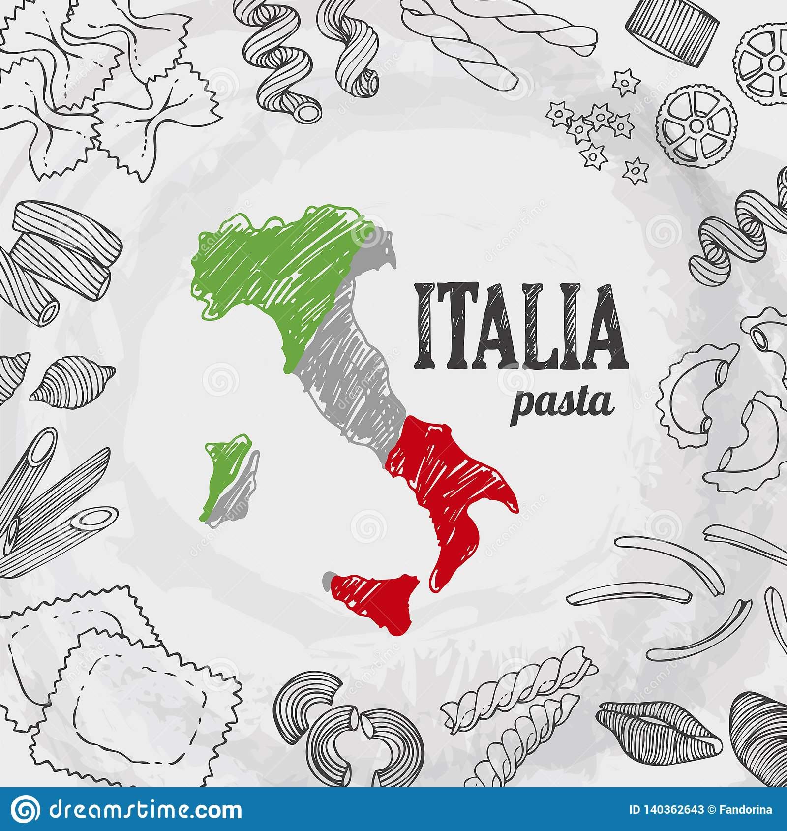 Italia Food Set Vector Background Stock Vector