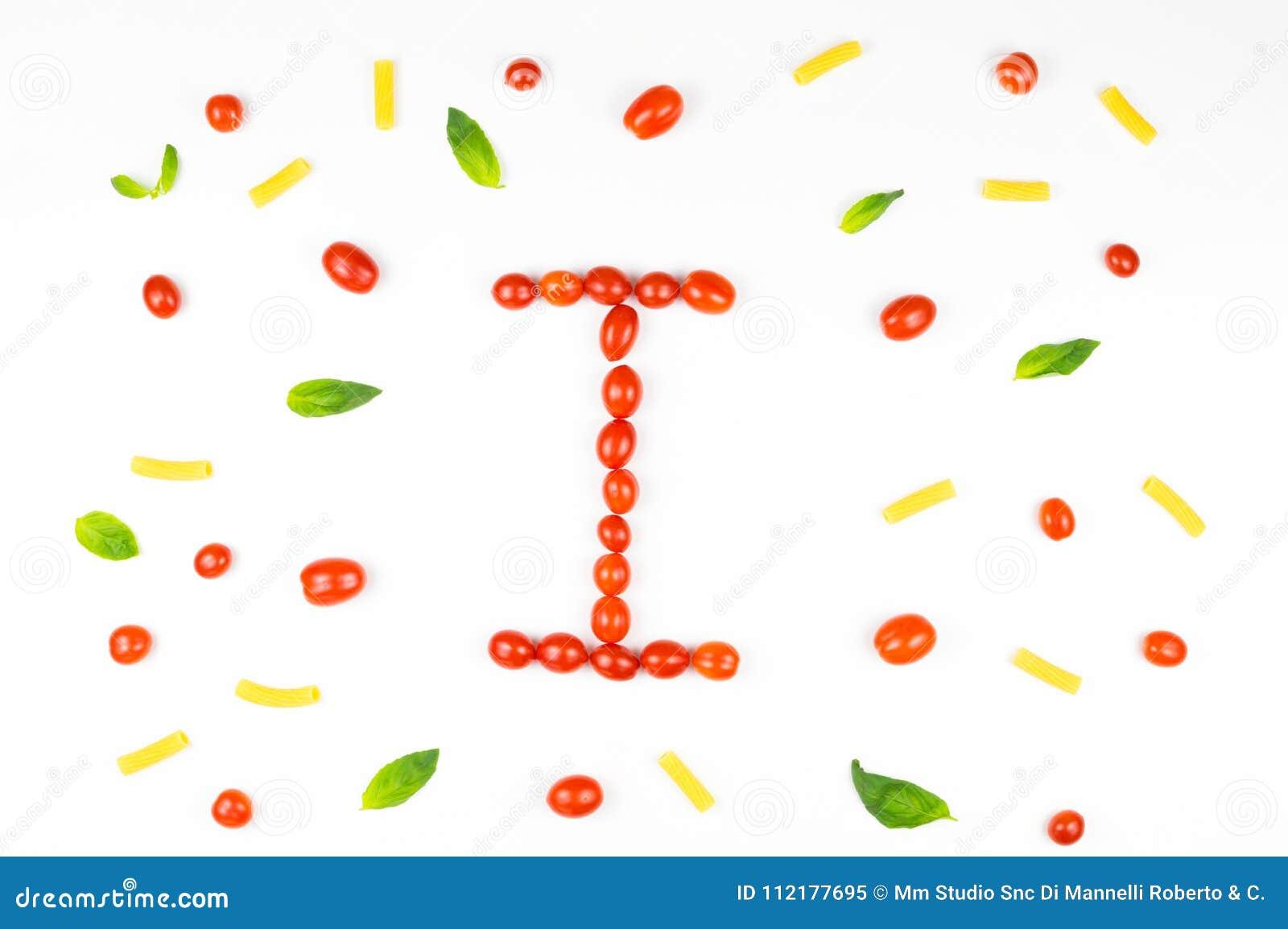 Italiaans voedsel die patroon met brief eten