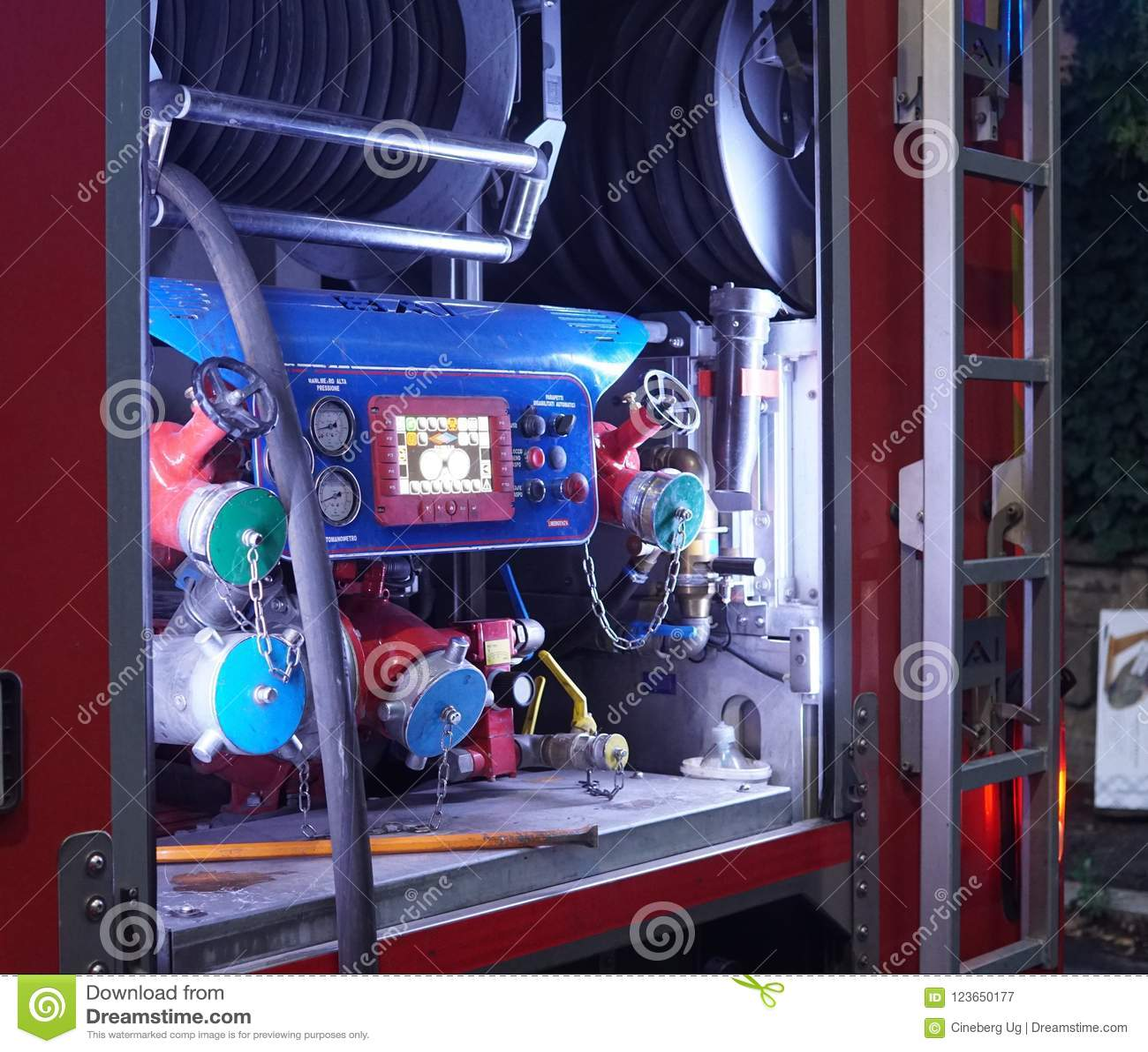 Italiaanse brandweerkorpsvrachtwagen, detail