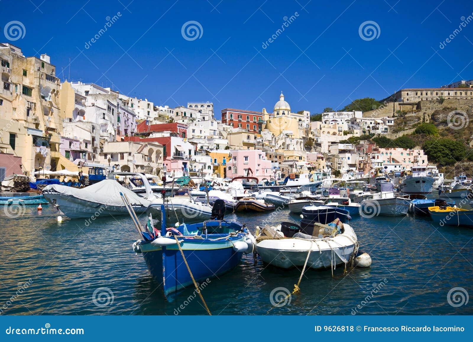 Italiaanse overzeese kust, procida, Napels