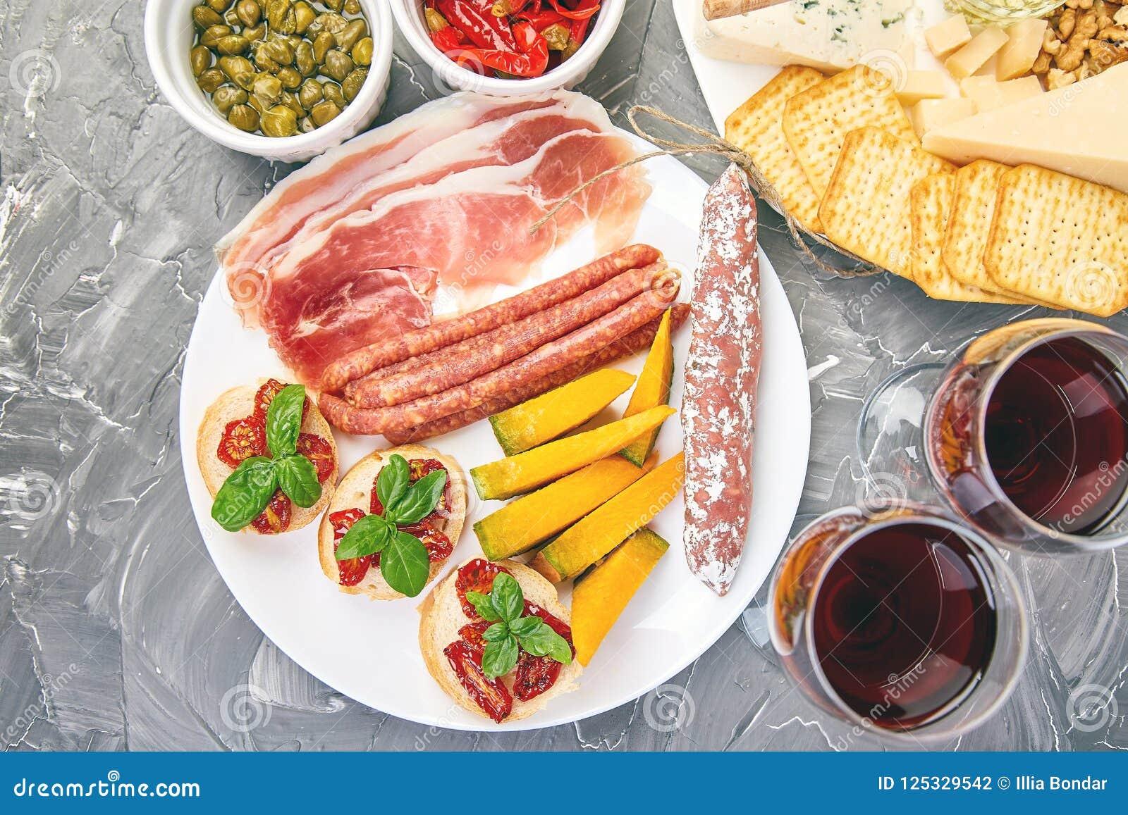 Italian Antipasti Wine Snacks Set Italian Food Stock Photo Image Of Plate Background 125329542