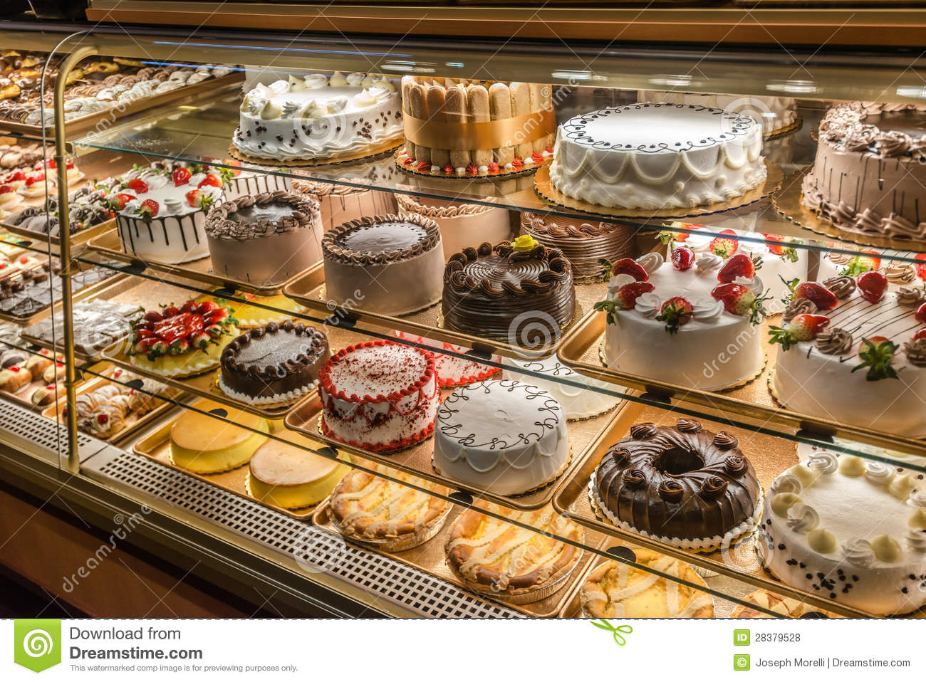 Cakes on display in an Italian Bakery in Little Italy, Bronx, NY.