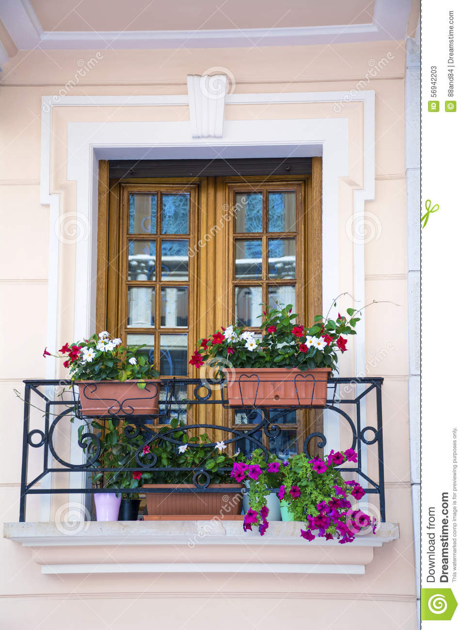 Italian balcony with pot flowers stock image image 56942203 for Italian balcony