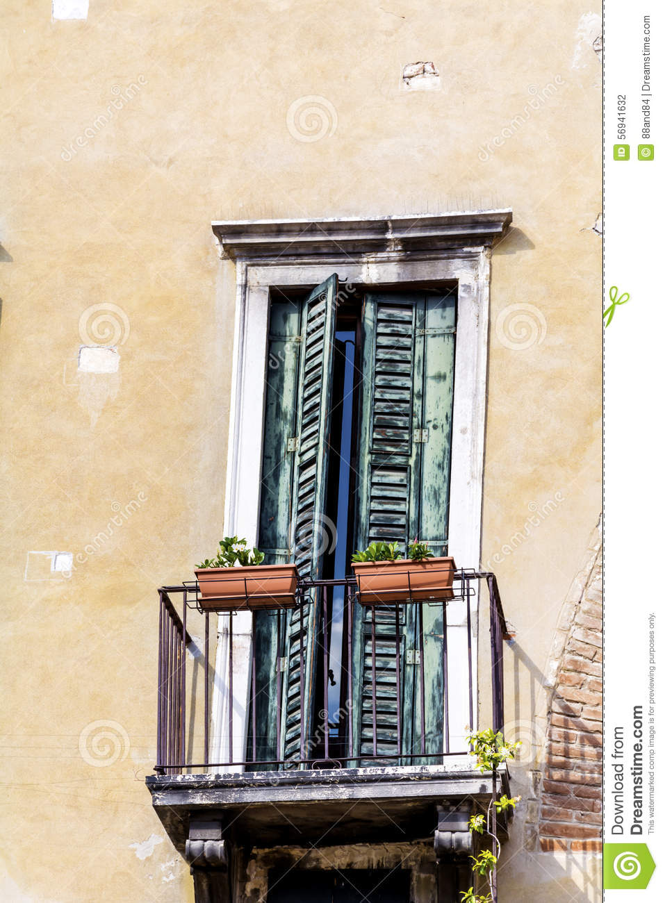 Italian balcony with pot flowers stock photo image 56941632 for Balcony in italian
