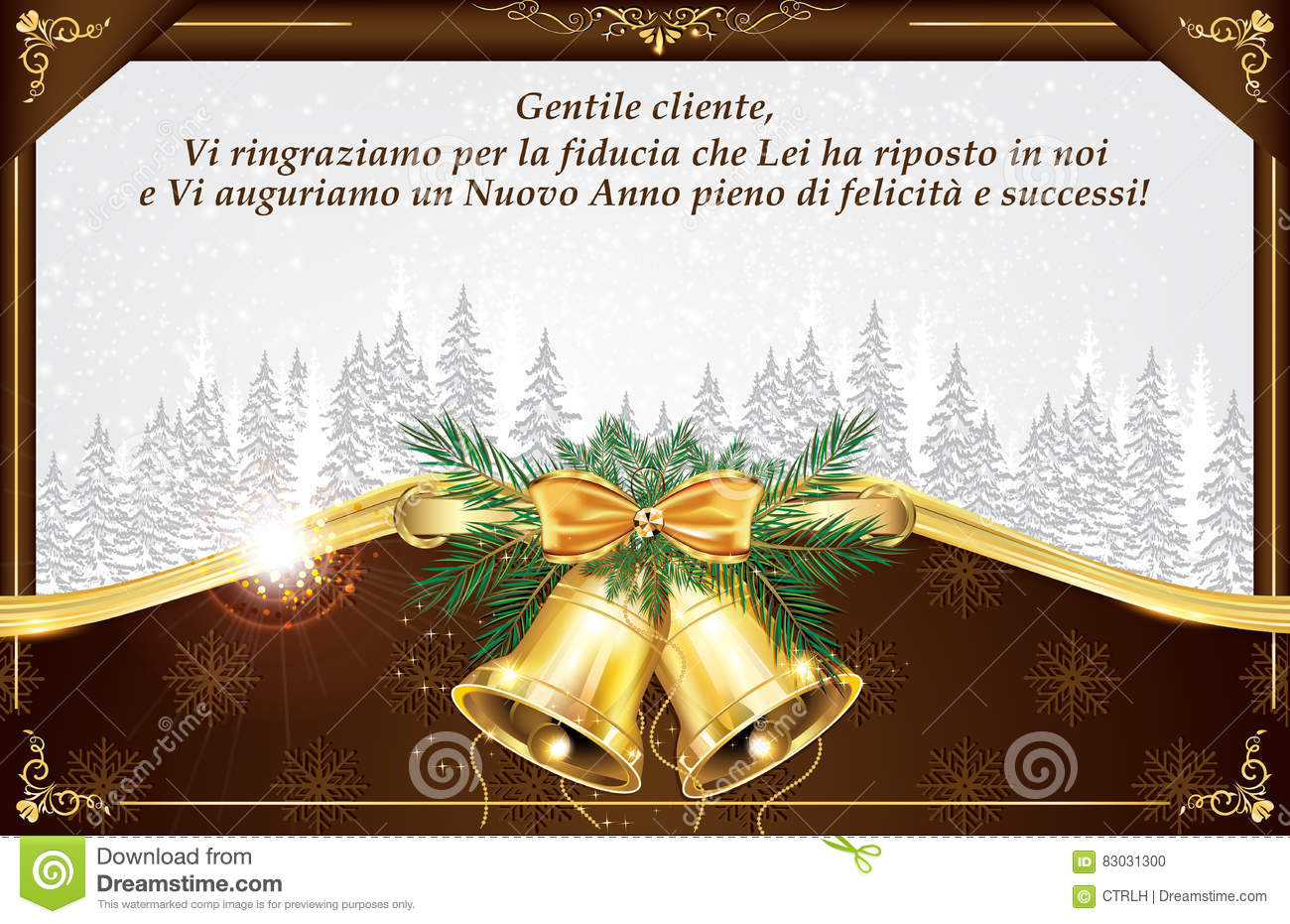 Italian Business Greeting Card For New Year Stock Illustration