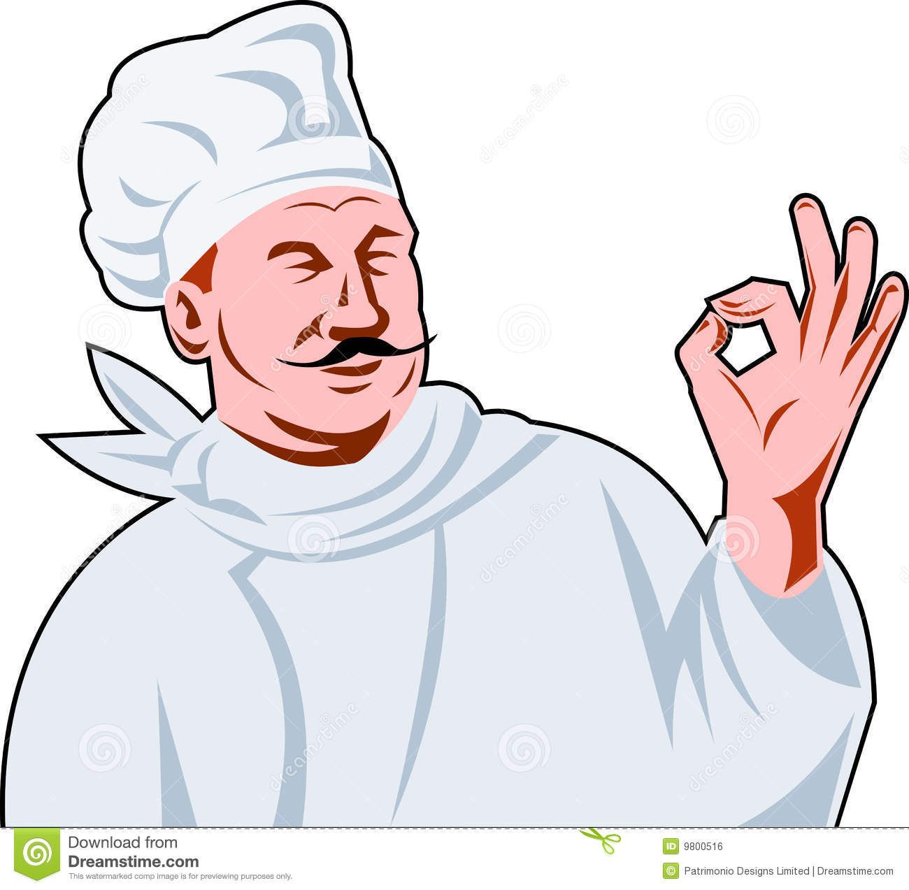 Vector illustration of an Italian chef cook holding up a perfect hand ...