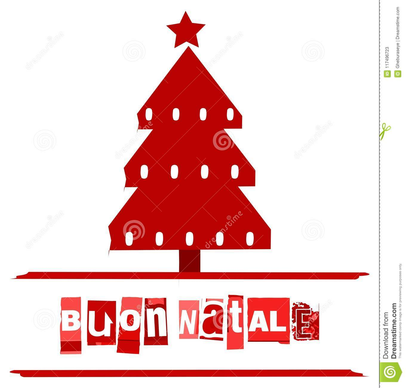 Italian Christmas greeting card in red with tree