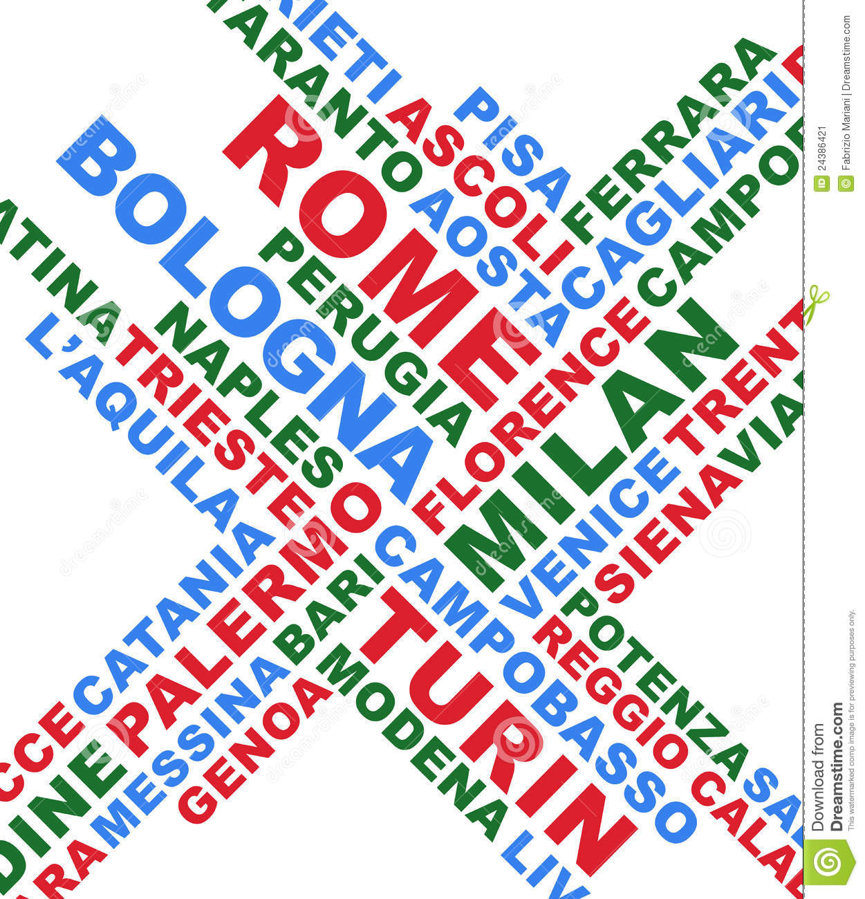 Italian City Names Collage Stock Image - Image: 24386421