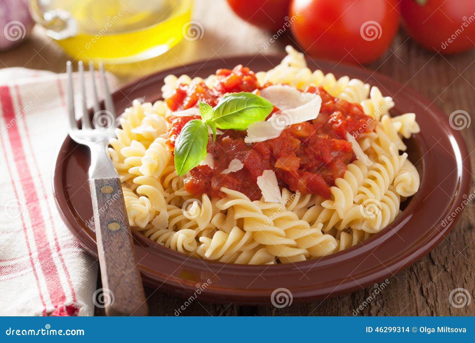 Italian Classic Pasta Fusilli With Tomato Sauce And Basil ...