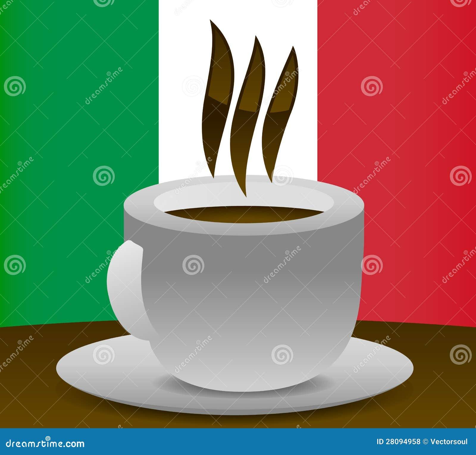 Italian coffee - Italian flag in the background. Nice, crisp ...