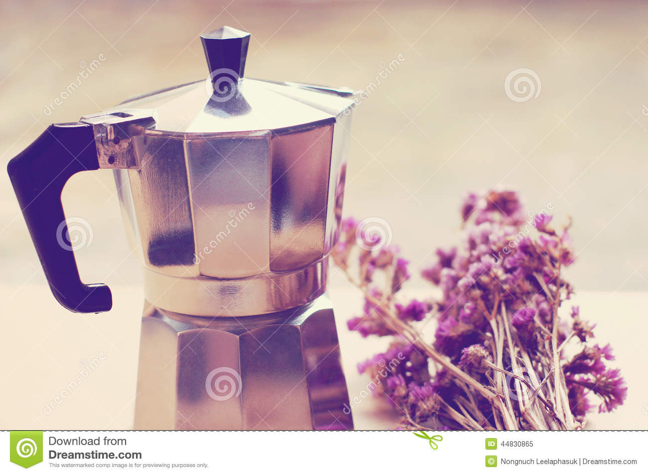 Italian Coffee Maker And Flower With Retro Filter Stock Photo - Image: 44830865