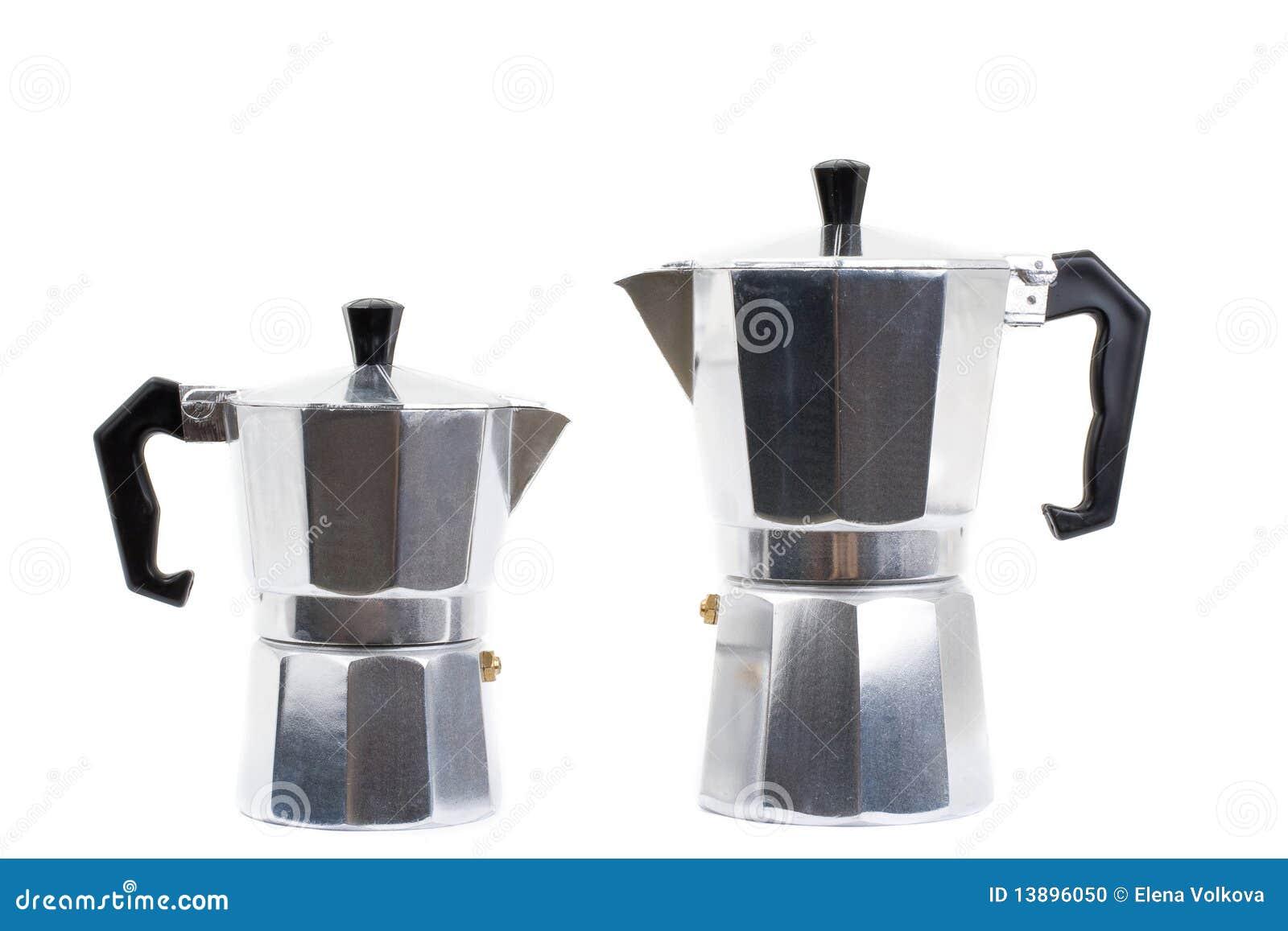 Italian Coffee Maker Isolated On White Background Stock Photo - Image: 13896050