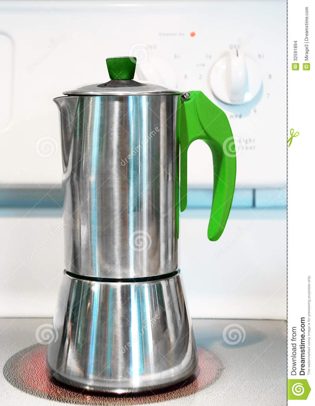 Italian Coffee Maker On Stove Stock Images - Image: 32591894