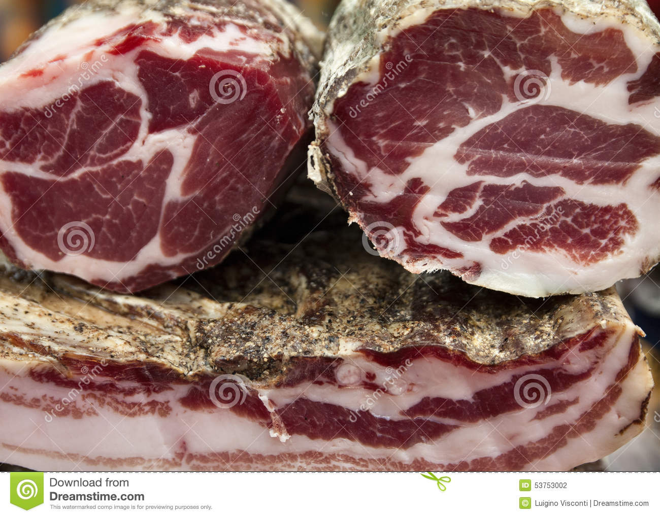 Stock Photo Italian Cold Cuts Various Types Handmade Image53753002 on types of ham cold cuts
