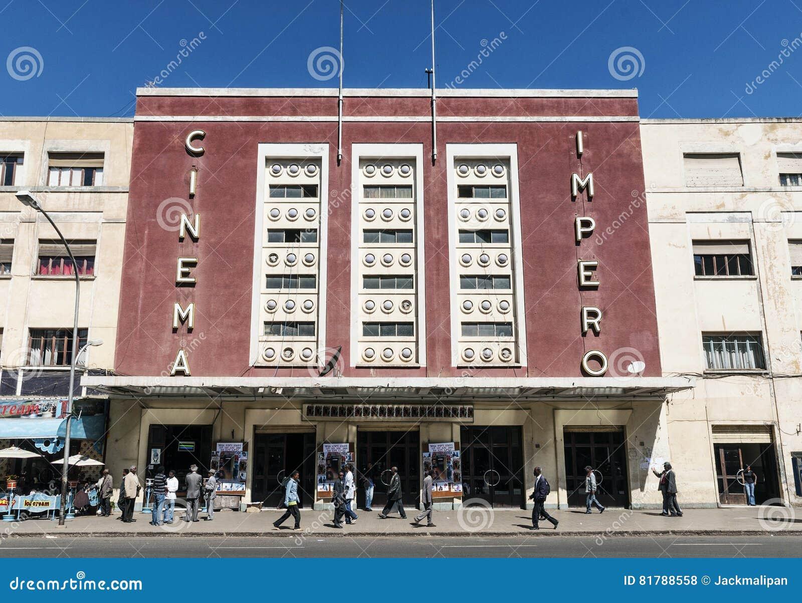 italian colonial art deco old cinema building in asmara eritrea