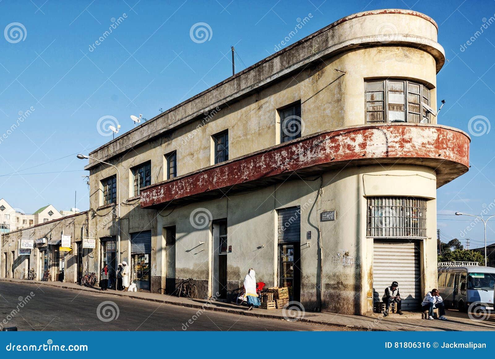 italian colonial old art deco building in asmara city eritrea