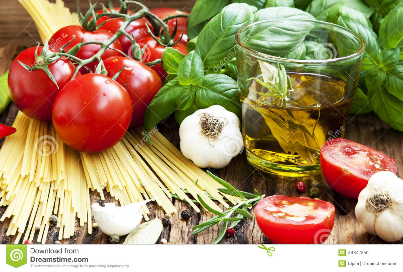 Italian Cooking Ingredients, Spaghetti,Tomates,Olive Oil And Bas Stock ...