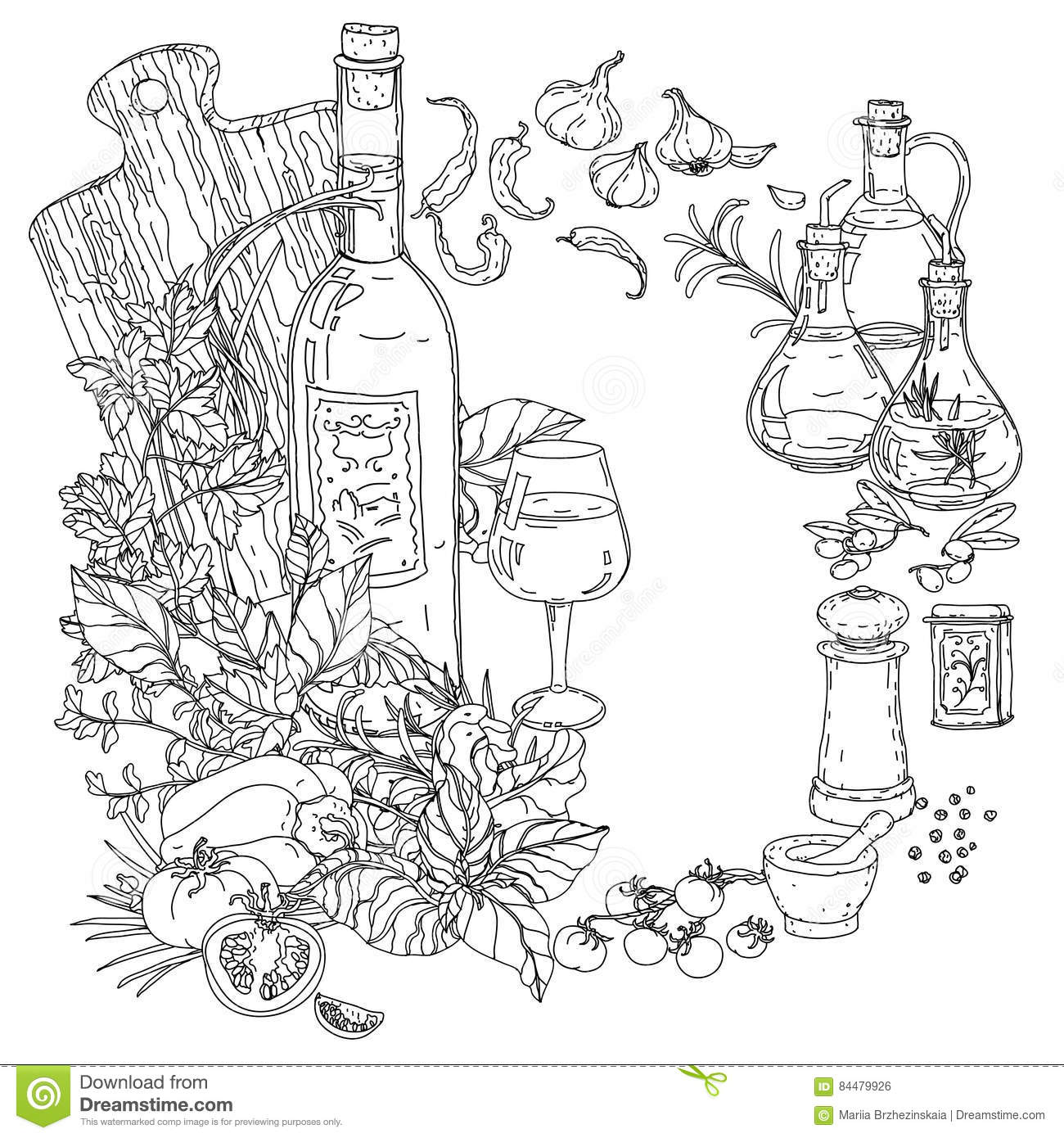 italian food coloring pages | Italian Cuisine For Coloring Book Stock Vector ...