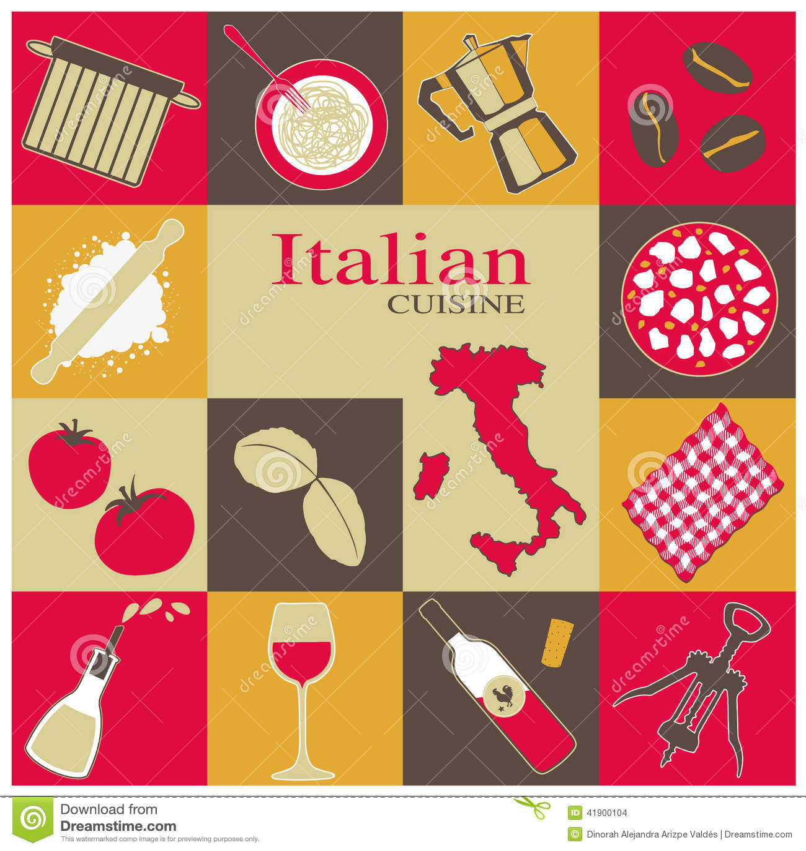 Italian Cuisine Icons Set Stock Vector Image 41900104